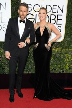 Le tapis rouge des Golden Globes 2017 - Blake Lively Ryan Reynolds