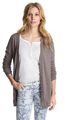 Meleerattu neuletakki ruskea puuvillaa Esprit 49,90 e - cardigan light brown cotton