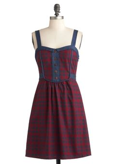 Schoolyard Sweet Dress - Red, Blue, Plaid, Buttons, Casual, A-line, Sleeveless, Fall, Mid-length, Scholastic/Collegiate