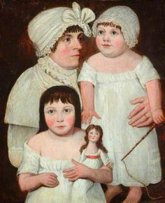portrait of early 19C English mother & her children ,with a doll