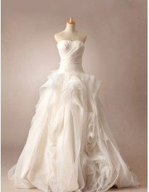 Stunning sweetheart vera wang style simple tailored a-line floral skirt  sweeping train wedding dresses TB-158