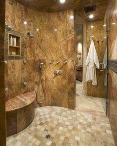 Walk in shower with seat design ideas for small bathroom, medium bathroom, or big bathroom. All the design is on a budget & elderly friendly. Dream Bathrooms, Beautiful Bathrooms, Modern Bathroom, Master Bathroom, Shower Bathroom, Master Shower, Eclectic Bathroom, Shower Walls, Shower Door