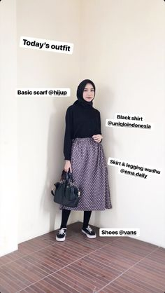 Casual Hijab Outfit, Ootd Hijab, Casual Outfits, Hijab Fashion Inspiration, Style Inspiration, Hijab Style Tutorial, Skirt Leggings, Korean Outfits, Skirt Outfits