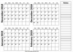 October 2018 to March 2019 Calendar PrintableOctober 2018