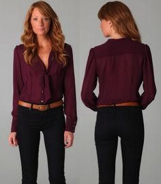 Burgundy shirt/camel belt/black jeans..