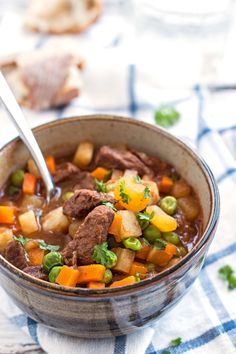 This Simple Beef Stew is easy to make and has a quick prep time! Full of flavor - a hearty and healthy stovetop dinner recipe! Could also make this in the crockpot/slow cooker!