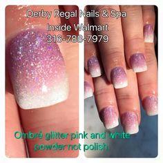 ombre nails, glitter nails, pink glitter nails, white glitter nails, dipping powder nail art, dipping powder nails, white tip nails, square shape nails
