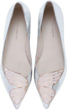 Sophia Webster Bibi Butterfly Metallic Leather Flats