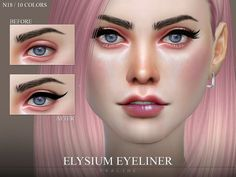 Eyeliner 2 versions, 5 colors. Found in TSR Category 'Sims 4 Female Eyeliner'
