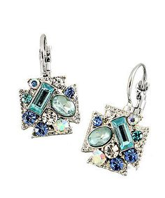 Two important points here: the lever back system; my favourite palette of seafoam-aquamarine colours ~~ Blue Drop Earrings