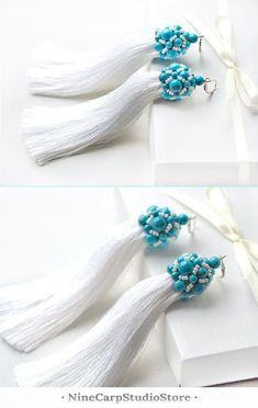 $37.92 Handmade white tassel earrings with turquoise beads #wedding #jewelry #handmade #earrings #tassels