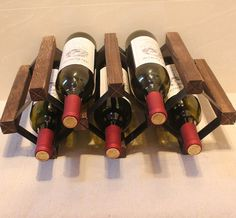 Paulownia Wood Wine Rack with Lacquer DIY Assembled 5 Bottle Japanese Style Wine Holder Display Suitable for Home, Hotel and Bar