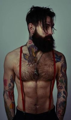 Not gonna lie. this man is so beautiful and sex Ricki Hall: beard, tattoos, suspenders Bart Tattoo, I Tattoo, Indie Tattoo, Deer Tattoo, Tattoo Pics, Chest Tattoo, Top Tattoos, Tattoos For Guys, Sexy Tattoos