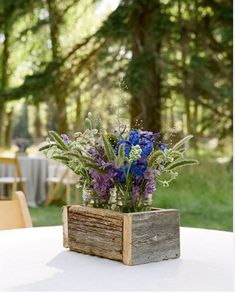 Small wood crates wedding decorations | Wildflowers in Wooden Box Centerpieces | Budget Brides Guide : A ...