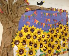 """We're BLOOMING in Kinder""""GARDEN""""!! Fun bulletin board idea. Fall themed with sunflowers!"""