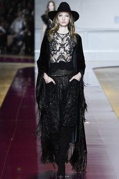 Black Sheer Beaded Top with a Black Beaded Fringe Long Skirt by Zuhair Murad, Look #3