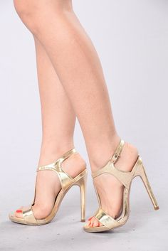 Tap The Strap Heel - Gold. Black High ...