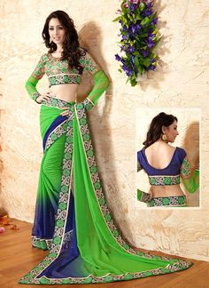 Energetic Georgette Green Embroidered Work Designer Saree