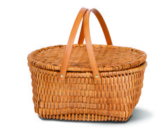 A beautiful, traditional style picnic basket from Picnic Plus.  Kit Basket, $44.99 at NW Picnic Company.