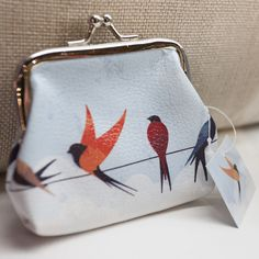 'Swoop & Turn' Swallows Design Coin Purse with metal clasp #purse #bird #swallow #accessories #giftware