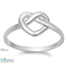 Heart Ring Solid 925 Sterling Silver Plain Dainty Simple Heart Tangled Knot Promise Ring Valentines Mothers Day Cute Gift Size 4-16