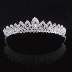 Prom Princess Queen Crown Pageant Bridal Wedding Tiara - All About Hairstyles Bride Tiara, Bride Headband, Crown Headband, Head Jewelry, Bridal Jewelry, Jewelry Party, Silver Tiara, Crystal Crown, Crystal Rhinestone
