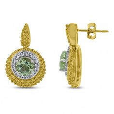 Viola, Round-cut Green Amethyst & White Topaz Earring in Sterling Silver Yellow Plated