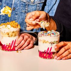 Build-A-Pint. Dream up your own layered soft serve treat with your choice of soft serve flavors, sauces, cake pieces and toppings.