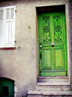 Green Door Photography - Paris Door Art  french home Decor 8x10 french photo emerald green kelly green. $20.00, via Etsy.