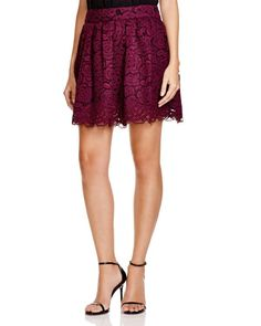 Alice + Olivia Fizer Pleated Lace Skirt