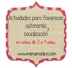 Actividades para favorecer la autonomía y socialización en niños de 3 a 4 años