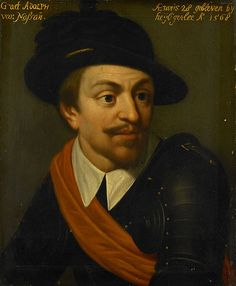 с.1633-35.30-39.Adolf van Nassau. Adolf (1540-68), Count of Nassau. Part of the Leeuwarden series, a series of portraits of military officials from the Eighty Years' War as well as members of the House of Orange-Nassau, first documented in 1633 in the Stadhouderlijk Hof (Stadholder's Court) in Leeuwarden (Wybrand de Geest,1635). Rijksmuseum Amsterdam.
