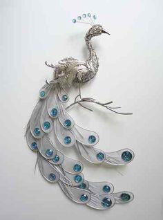 Fanciful Silver Peacock Wall Art Decor Metal Hanging Bird Feathers Sculpture | eBay