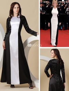 White Sheath Jewel Neck Jane Fonda Satin Cannes Film Festival Dress. If you cant have an hourglass shape, you can create the illusion of one in this stunning evening gown. Its made in a two tone design with a round neck and long sleeves. The white portion has a curvy hourglass sha.. . See More Cannes Film Festival Dresses at http://www.ourgreatshop.com/Cannes-Film-Festival-Dresses-C901.aspx