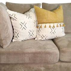 Yellow Pillow Covers, Yellow Throw Pillows, Big Pillows, Boho Throw Pillows, Handmade Pillows, Decorative Pillows, African Mud Cloth, African Fabric, Boho Bedding