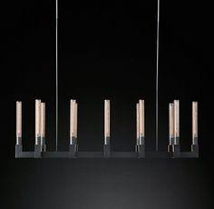 Cannele Linear Chandelier Modern Brass   RH Modern