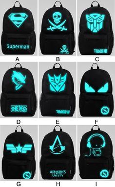 I find this College Boys Noctilucent Devil Captain America Backpack Girls…
