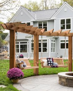 The pergola you choose will probably set the tone for your outdoor living space, so you will want to choose a pergola that matches your personal style as closely as possible. The style and design of your PerGola are based on personal Fire Pit Backyard, Backyard Pergola, Pergola Shade, Backyard Landscaping, Pergola Kits, Pergola Swing, Corner Pergola, Fire Pit Pergola, Backyard Swings