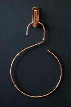 Copper Coloured Hook and Hanger - cute towel holder