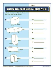 Worksheets Geometry Surface Area And Volume Worksheets geometry worksheets and on pinterest surface area volume of right prisms grade worksheets