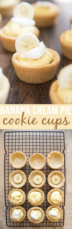 Banana Cream Pie Cookie Cups - These cookie cups are a great way to get the flavors of banana cream pie in a mini cookie cup! It doesn't get much easier or more delicious than these cute cookie cups!