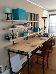 Incredible DIY Office Desk Design Ideas and Decor - Googodecor, . 55 Incredible DIY Office Desk Design Ideas and Decor - Googodecor, 55 Incredible DIY Office Desk Design Ideas and Decor - Googodecor, Diy Office Desk, Diy Computer Desk, Diy Desk, Home Office Furniture, Furniture Ideas, Office Decor, Cheap Furniture, Work Desk, Metal Furniture