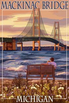 Mackinac Bridge & Sunset, Michigan - Lantern Press Poster