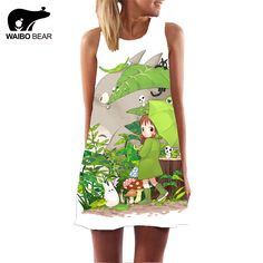 Lovely Totoro Printed Summer Chiffon Dress Novelty Design Casual Dress Women Sleeveless Sundress Female Vestidos Plus Size