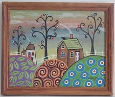 Quiet Afternoon FRAMED ORIG Canvas Panel PAINTING FOLK ART 8 x 10 Karla Gerard #FolkArtAbstractPrimitive