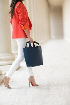 Bright blazer, white jeans and nude pumps