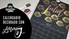Calendario decorado con lettering Julio con sello carvado a mano