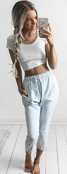 White Crop + Baby Blue Pants