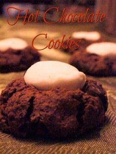 Hot Chocolate Cookies recipe. Your favorite cold weather drink made into cookie form, complete with marshmallow. Chocolate-y, chewy, and oh so delicious.