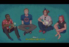 "Captain America and his crew (Sam Wilson, Bucky Barnes and Natasha Romanoff) enjoy the 4th of July. ""HAPPY BIRTHDAY STEVE ROGERS and America I guess."""